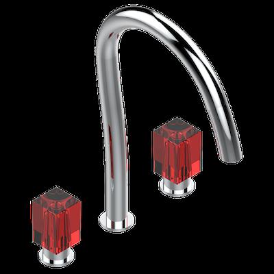 Lavabo Rojo Cristal.Bateria Americana De Lavabo 1 2 Cano Alto Con Vaciador